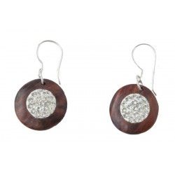 Nut wood Earrings with White Swarovski Crystals - 1,5 Cm Unique Wooden Jewelry - Made in Italy