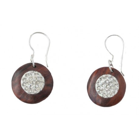 Nut wood earrings with white Swarovski crystals