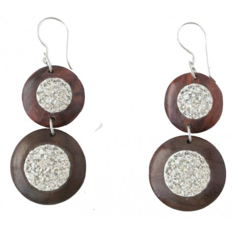 Double Earrings with White Swarovski Crystals - 3,5 Cm - Dolfi Unique Wooden Jewelry - Made in Italy