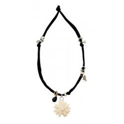 Halskette schwarz mit Margerite