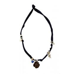 Stretch necklace black with Rose carved in nut  wood