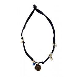 Trachtenkette, Halskette mit schwarzem Stretch-Baumwollstoff mit Rose Nussbaumholz, Halskette Damen