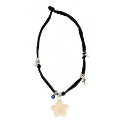 Dark blue elastic necklace with flower carved in wood