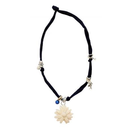 Trachtenkette, Halskette mit schwarzem Stretch-Baumwollstoff