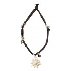 Collana elastica con stella alpina in legno
