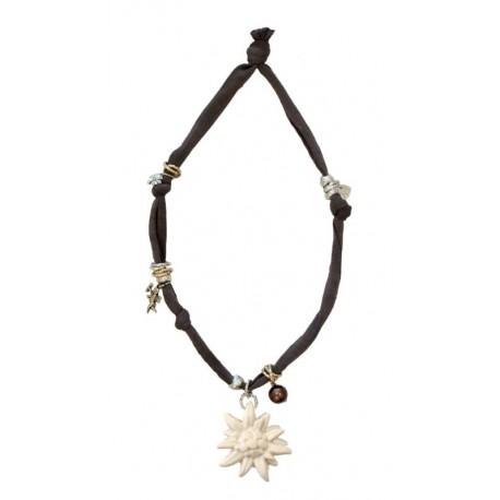 Trachtenkette, Halskette mit braunem Stretch-Baumwollstoff