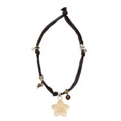 Collana marrone elastica con Fiore
