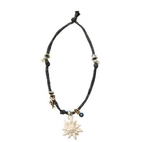 Halskette grau mit Edelweiß