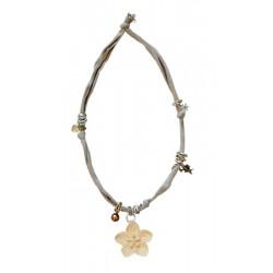Halskette beige mit Blume