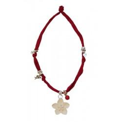 Trachtenkette, Halskette mit rotem Stretch und Holzblume