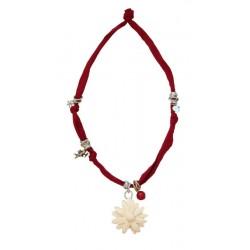 Halskette rot mit Gänseblümchen