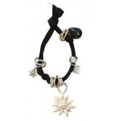Armband schwarz mit Edelweiß