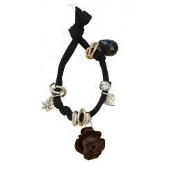 Stretch Armband in schwarz mit Holz Rose
