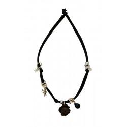 Trachtenkette, Halskette mit schwarzem Stretch-Baumwollstoff und Holz Rose, Dolfi Halskette, Gröden