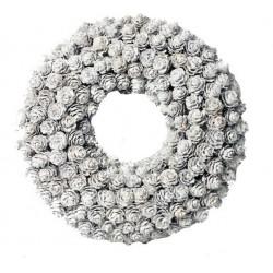 Corona realizzata con piccole pigne argentate 23x22,5x5,5