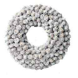 Winter Ornamental Wreath Made of Little Pine Cones in Silver  - Dolfi first Holy Communion Gifts