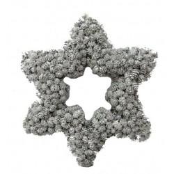 Corona a stella realizzata con piccole pigne argentate 35x31x5,5 cm