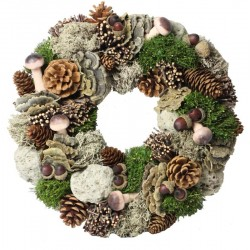 Autumn Ornamental Wreath Made of wood Chip Flowers, Pine Cones, Red Berries and Mushrooms - Dolfi