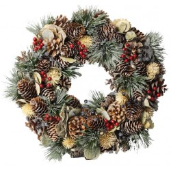 Ornamental Wreath Made of wood Chip Flowers and Pine Cones - Dolfi 30Th Birthday Ideas for Her