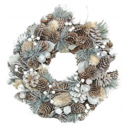 Winter Ornamental Wreath Made of wood Chip Flowers, Pine Cones White Berries Gifts for 11 year Old'S