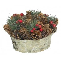 Centerpiece with Tealight Made with Pine Cones, Mountain Pine Branches and Berries - Made in Italy