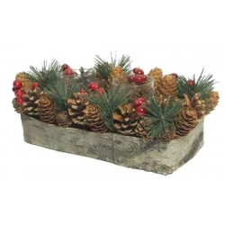 Decoration with pine cones and red berries