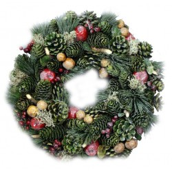 Autumn Ornamental Wreath Made of wood Chip Flowers, Pine Cones, Red Berries, small Apples - Dolfi