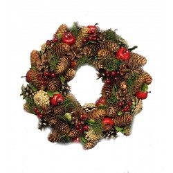 Ornamental Wreath Made of wood Chip Flowers, Pine Cones and Red Berries Gifts for Mom from Daughter