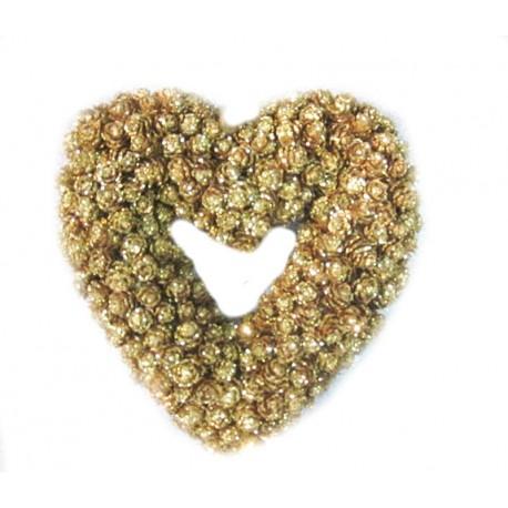 Corona cuore con pigne dorate
