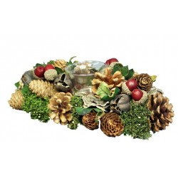 Centerpiece with Tealight Made with Pine Cones, Mountain Pine Branches and Berries Charity Gifts