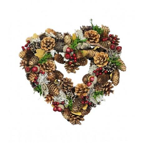 Corona cuore con pigne e ghiande
