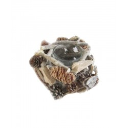Tealight Holder Made with Pine Cones and Pieces of wood - Dolfi top Gifts for Men - Made in Italy