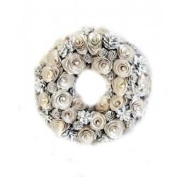 Kranz aus Holzblumen und natürlichen Tannenzapfen 31x31x5,5 cm