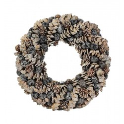 Autumn Ornamental Garland Made of wood Chip Leaves, Pine Cones in Soft Brown Colors - Made in Italy