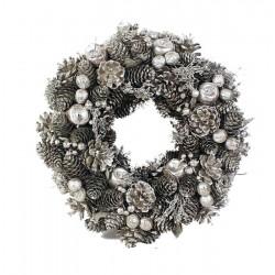 Ghirlanda pigne argento e fiori