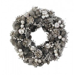 Winter Ornamental Wreath Composed of Pine Cones , White Berries and Wooden Stars  office Gift Ideas
