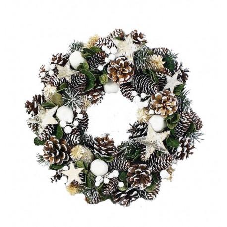 Corona rotonda in pigne, stelle in betulla e fiori essiccati