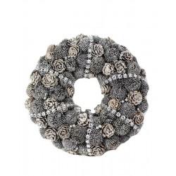 Elegante Krone aus Silber gemalten Tannenzapfen - Dolfi Weih nachts Türkränze, Schnitzereien Gröden
