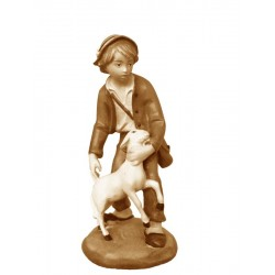 Shepherd in wood with sheep - stained 3 col.