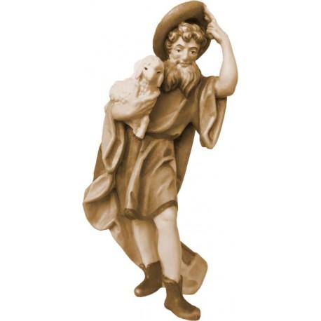 Statua pastore con pecore presepe in legno - brunito 3 col.