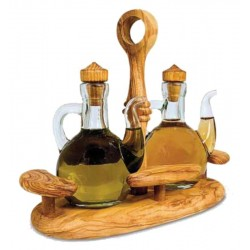Oil and Vinegar Cruet Set in Olive wood - Dolfi Christmas Presents for Dad - Made in Italy