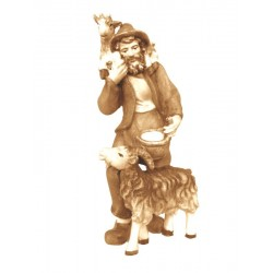 Shepherd with coat carved in wood - Wood colored in Different brown shades
