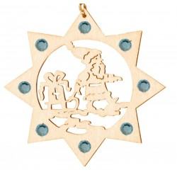 Weihnachtsmann mit Swarovski Kristalle, Dolfi Christbaumschmuck Holz, Original Grödner Schnitzereien