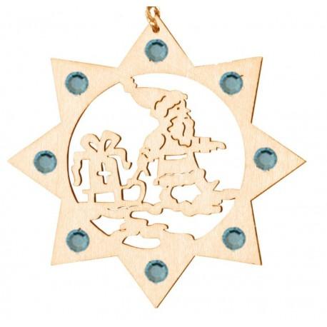Santa Claus wood laser cut ornament with Swarovski Crystals