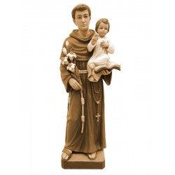 St.Anthony wood carved statue italian woodcarving - Wood colored in Different brown shades