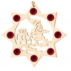 Weihnachtsmann mit Swarovski Kristalle | Dolfi Holz Christbaumschmuck, Grödner Holzschnitzereien