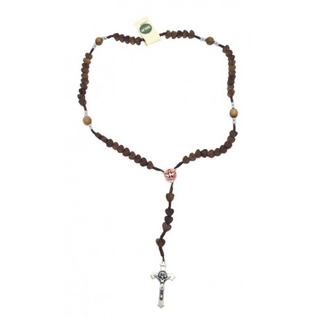 Rosary in holy wood with hearts 14 inch