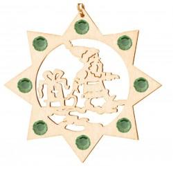 Weihnachtsmann mit Swarovski Kristalle; Dolfi Christbaumschmuck Holz Erzgebirge, Schnitzerei Gröden