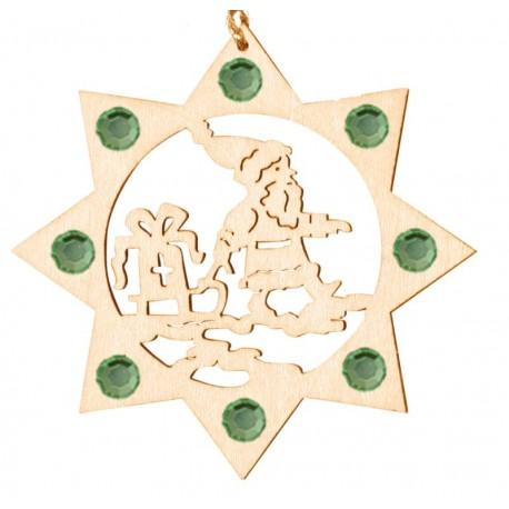 the Santa with Swarovski Crystal - Dolfi Wooden Ornaments - Made in Italy