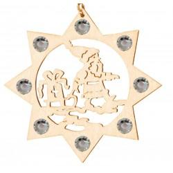 Weihnachtsmann mit Swarovski Kristalle - Dolfi Christbaumschmuck Holz Natur, Schnitzereien Südtirol